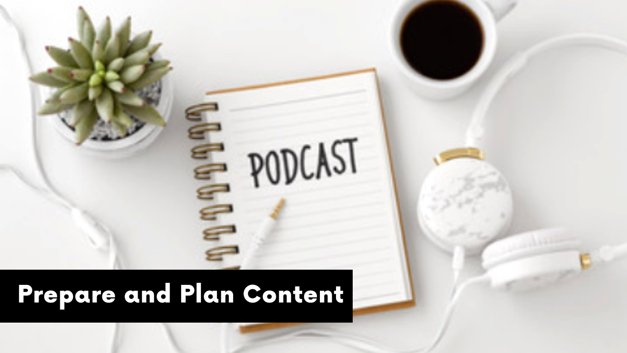 podcast notebook and headphones
